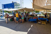 Bazaar in Side. Trade in fresh fruits and vegetables. Side - a city on the Anatolian coast, a popular holiday destination in summer of European citizens. — Stock Photo