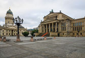 Square Gendarmenmarkt, Konzerthaus and German Cathedral. Early morning. — Stock Photo