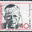 Postage stamp printed in Germany, shows portrait of Kurt Schumacher, 1st chairman of the German Social Democratic Party — Stock Photo #51083011
