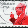 Postage stamp printed in Germany, dedicated to the 100th anniversary of the birth Chairman of the Social Democratic Party of Germany, Erich Ollenhauer — Stock Photo #51083153