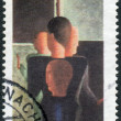 Postage stamp printed in Germany, shows Concentric Group painting by Oskar Schlemmer and CEPT emblem — Stock Photo