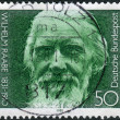 Postage stamp printed in Germany, shows the poet Wilhelm Raabe — Stock Photo #51083441