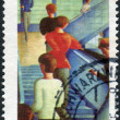 Postage stamp printed in Germany, shows Bauhaus Staircase, painting by Oskar Schlemmer and CEPT emblem — Stock Photo