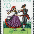 Postage stamp printed in Germany, shows South German couple dancing in regional costumes (region Black Forest) — Stock Photo #51083463