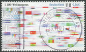 Postage stamp printed in Germany, dedicated to First World Congress of Union First World Congress of Union — Stockfoto