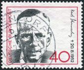 Postage stamp printed in Germany, shows portrait of Kurt Schumacher, 1st chairman of the German Social Democratic Party — Stock Photo