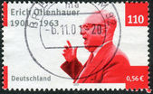 Postage stamp printed in Germany, dedicated to the 100th anniversary of the birth Chairman of the Social Democratic Party of Germany, Erich Ollenhauer — ストック写真