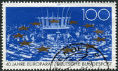 Postage stamp printed in Germany, dedicated to the 40th anniversary of the Council of Europe, shows Parliamentary Assembly, stars — Stockfoto