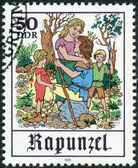 Postage stamp printed in Germany, shows a scene from a fairy tale by the Brothers Grimm, Rapunzel — Foto de Stock
