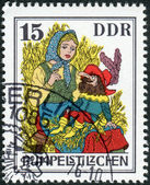 Postage stamp printed in Germany, shows a scene from a fairy tale by the Brothers Grimm, Rumpelstiltskin — Stockfoto