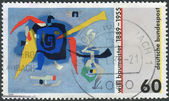 Postage stamp printed in Germany, dedicated to the 100th anniversary of Willie Baumeister, painting Bluxao I — Stockfoto
