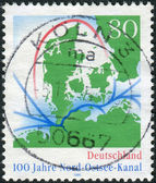 Postage stamp printed in Germany, dedicated to centenary Kiel Canal (North-to-Baltic Sea canal) — Stock Photo