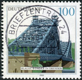 Postage stamp printed in Germany, shows the Blue Wonder Bridge, Dresden — Stock Photo