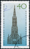 Postage stamp printed in Germany, dedicated to the 600th anniversary of the Lutheran church, Ulm Minster — Stock Photo