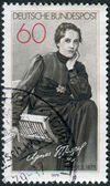 Postage stamp printed in Germany, shows the poet Agnes Miegel — Stock Photo