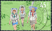 A stamp printed in Germany, shows the Scouts — Stock Photo