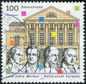 Postage stamp printed in Germany, dedicated to the 1100th anniversary of Weimar, European City of Culture — Stock Photo