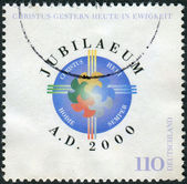 Postage stamp printed in Germany, dedicated to the Millennium — Stockfoto