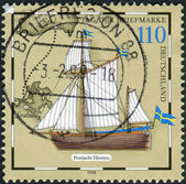 """Postage stamp printed in Germany, shows Mail boat, """"Hiorten"""" — Stock Photo"""
