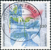 Postage stamp printed in Germany, dedicated to the World Exhibition EXPO 2000 in Hanover — Stockfoto