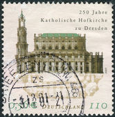 Postage stamp printed in Germany, dedicated to the 250th anniversary of the Catholic Court Church, Dresden — Foto de Stock