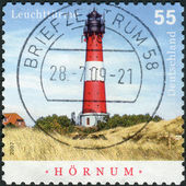 Postage stamp printed in Germany, shows lighthouse Hoernum, the island of Sylt (built in 1907) — Stock Photo