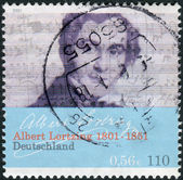 Postage stamp printed in Germany, dedicated to the 200th anniversary of the birth the composer, actor and singer Gustav Albert Lortzing — Stock Photo