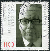 Postage stamp printed in Germany, dedicated to the 100th anniversary of the birth Gustav Walter Heinemann — Foto de Stock