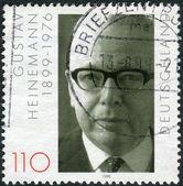 Postage stamp printed in Germany, dedicated to the 100th anniversary of the birth Gustav Walter Heinemann — ストック写真