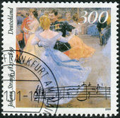 Postage stamp printed in Germany, dedicated to the 100th anniversary of the death of Johann Strauss, shows Viennese Ball in Hofburg Palace — Stockfoto