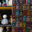 Traditional national embroidery, with folk motifs and patterns, traditional lanterns from pumpkins. Sale of handmade goods. Bazaar. Turkey. — Foto Stock #51178421