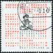 Postage stamp printed in Germany, dedicated to the 600th anniversary of Johannes Gutenberg, shows an engraving by Andre Thevet — Stock Photo #51208549