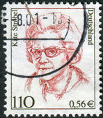 Postage stamp printed in Germany, shows portrait Kaete Strobel, politician — Stock Photo