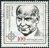 Postage stamp printed in Germany, shows portrait of Friedrich von Bodelschwingh, Protestant Theologian — Stock Photo