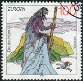 Postage stamp printed in Germany, dedicated to the sagas and legends, depicted Rubezahl of Riesengebirge (Giant Mountains) — Stockfoto
