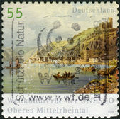 Postage stamp printed in Germany, shows the Upper Middle Rhine Valley (UNESCO World Heritage Site) — Stock Photo