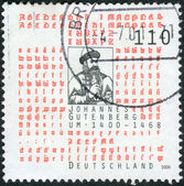 Postage stamp printed in Germany, dedicated to the 600th anniversary of Johannes Gutenberg, shows an engraving by Andre Thevet — Stockfoto