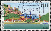 Postage stamp printed in Germany, shows a view of the city Maintal (Wertheim) — Stock Photo