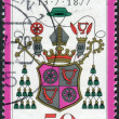 Postage stamp printed in Germany, dedicated to the 100th anniversary of the death of Wilhelm Emmanuel von Ketteler, depicts Bishop Ketteler's Coat of arms — Stock Photo #51762045