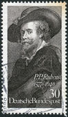 Postage stamp printed in Germany, dedicated to the 400th anniversary of the birth of Peter Paul Rubens, depicts a self-portrait — Stockfoto
