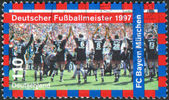 Postage stamp printed in Germany, shows the FC Bayern Munchen, 1997 German Soccer Champions — Stock Photo