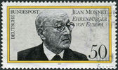 Postage stamp printed in Germany, shows a Jean Monnet, French proponent of unification of Europe, became first Honorary Citizen of Europe in Apr. 1976 — Stock Photo