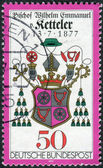 Postage stamp printed in Germany, dedicated to the 100th anniversary of the death of Wilhelm Emmanuel von Ketteler, depicts Bishop Ketteler's Coat of arms — Foto Stock