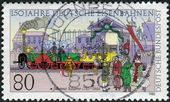 Postage stamp printed in Germany dedicated to the 150th anniversary of the German railways, depicted Departure of the 1st Train from Nuremberg to Furth — Stock Photo