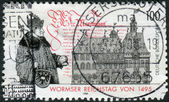 Postage stamp printed in Germany, dedicated to the 500th anniversary of the Diet of Worms — Stock Photo