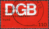 Postage stamp printed in Germany, dedicated to the 50th anniversary of the German Federation of Trade Unions — Stock Photo
