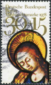 Postage stamp printed in Germany (West Berlin), Christmas Issue, depicted Adoration of the Kings, stained glass window, Frauenkirche, Munich — Stock Photo