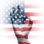 Hand OK sign with USA flag — Stock Photo