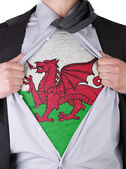 Business man with Welsh flag t-shirt — Stock Photo