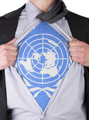 Business man with UN flag t-shirt — Stock Photo